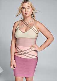 Front View Bandage Color Block Dress