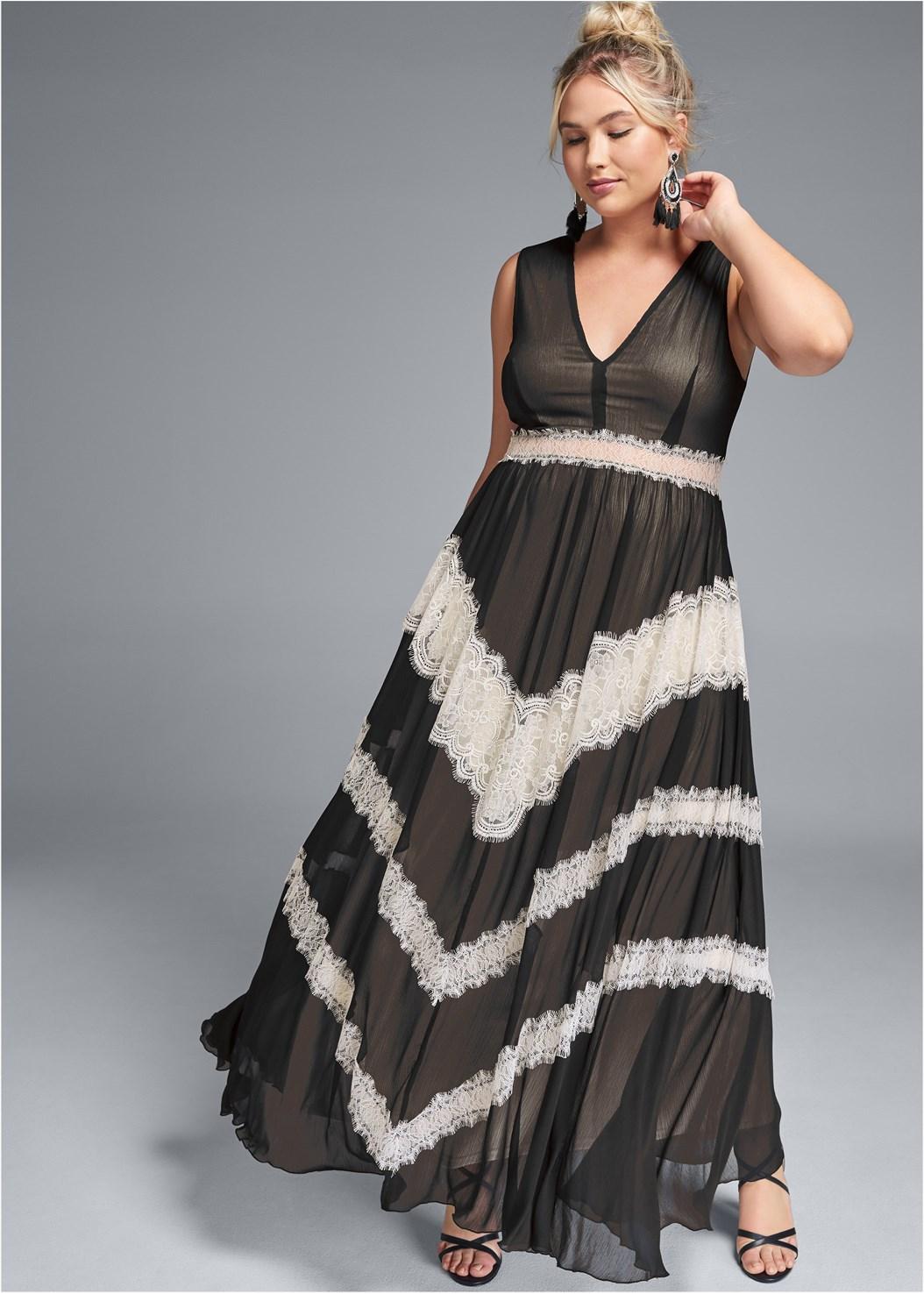 Lace Inset V-Neck Dress,Strappy Heels