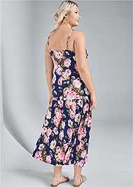 Back View Button Front Maxi Dress