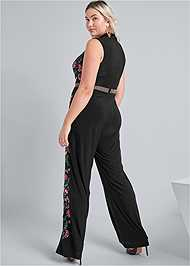 Back View Floral Embroidered Jumpsuit