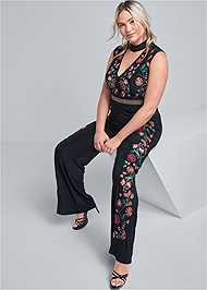 Front View Floral Embroidered Jumpsuit