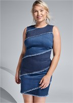 plus size two toned denim dress