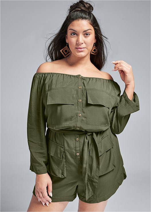 OFF SHOULDER UTILITY ROMPER,LIFT IT UP BACKLESS AND STRAPLESS PLUNGE,LUCITE HEEL MULES