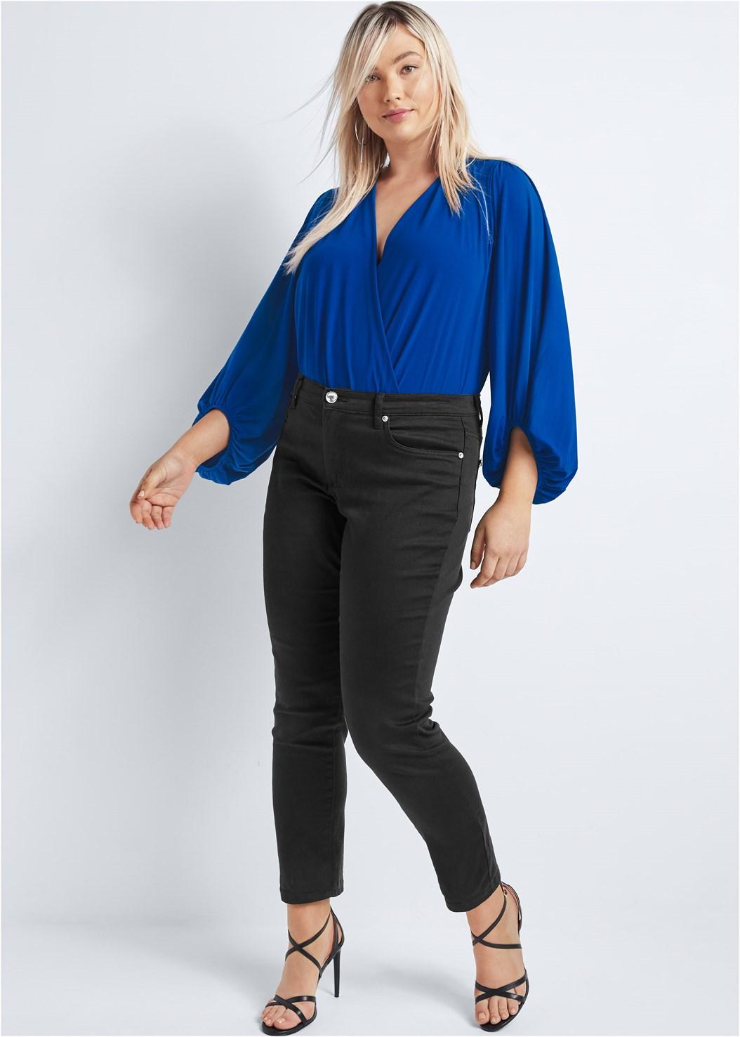 Mid Rise Color Skinny Jeans,Surplice Bodysuit,High Heel Strappy Sandals,Crisscross Strappy Heel,Hoop Detail Earrings