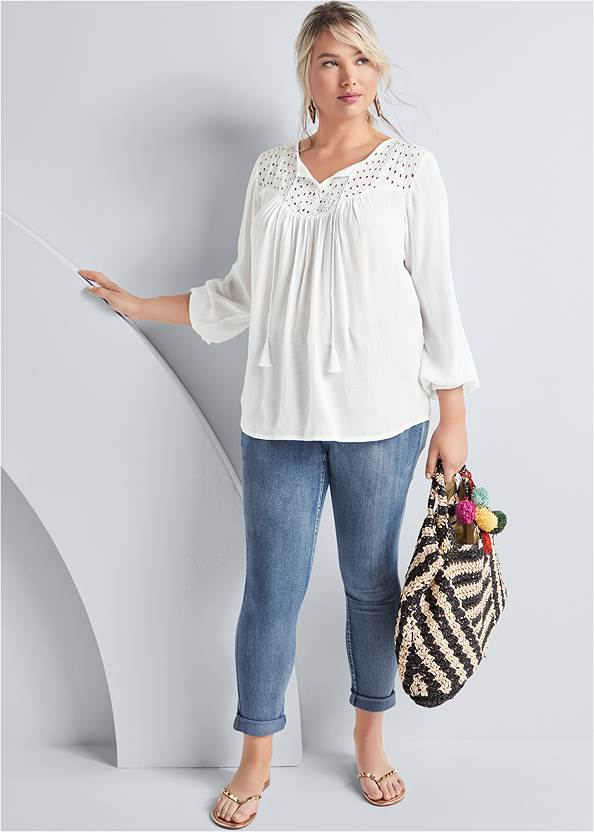 Alternate View Oversized Tie Front Blouse