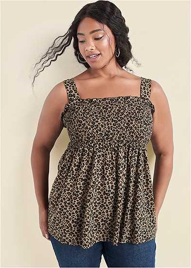 Plus Size Smocked Leopard Tunic