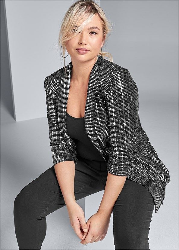 Embellished Jacket,Mid Rise Slimming Stretch Jeggings,Asymmetrical Strappy Heels
