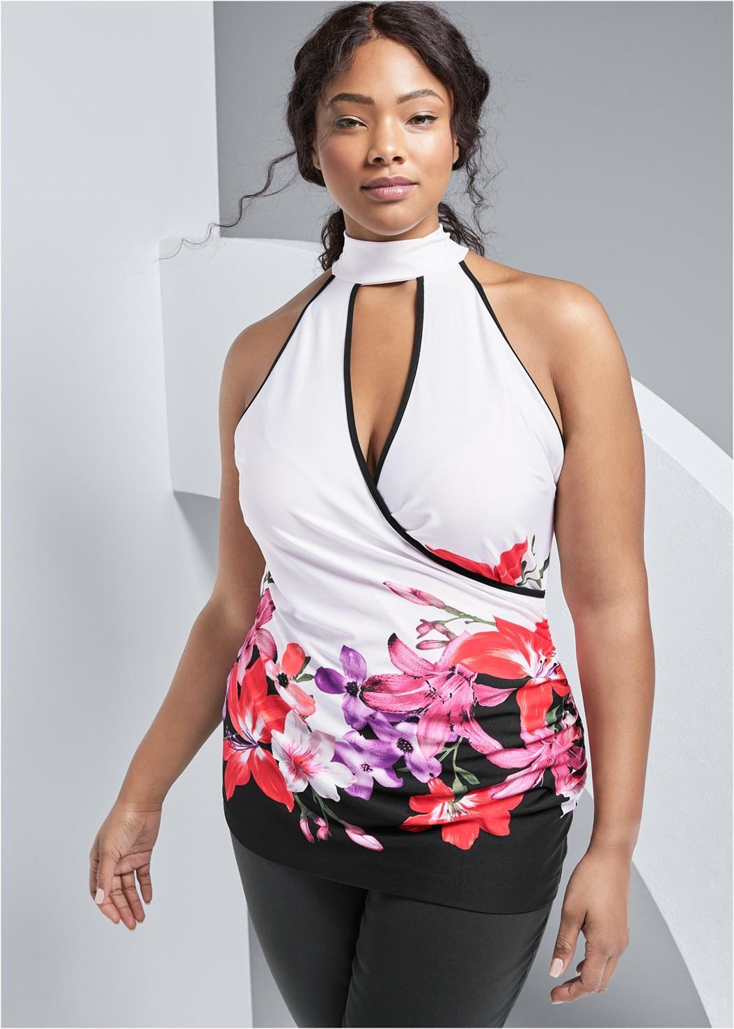Floral Print Mock Neck Top,Mid Rise Slimming Stretch Jeggings,Embellished Lucite Heel