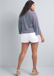 Back View Banded Bottom Printed Top