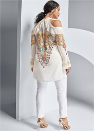 Back View Embellished Print Blouse