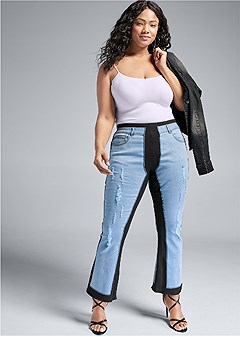 plus size mixed material pants