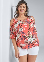 Cropped Front View Printed Cold Shoulder Top