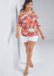 Front View Printed Cold Shoulder Top