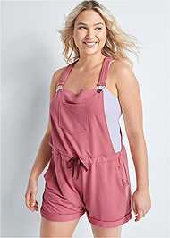 Front View French Terry  Drawstring Short Overalls