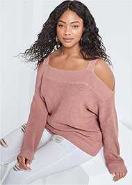 Front View Cold Shoulder Sweater