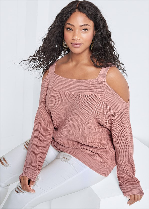 Cold Shoulder Sweater,Triangle Hem Jeans