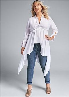 plus size high low blouse