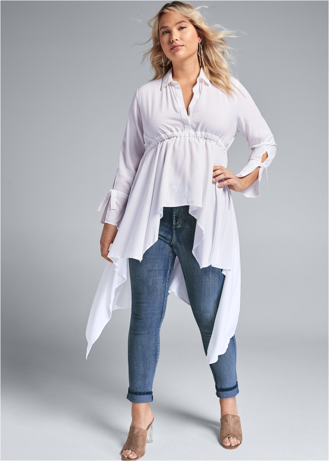 High Low Blouse,Mid Rise Color Skinny Jeans,Embellished Lucite Heel,Circular Straw Bag