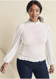 plus size balloon sleeve blouse
