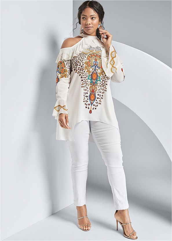 Embellished Print Blouse,Mid Rise Full Length Slimming Stretch Jeggings,Studded Strappy Heels