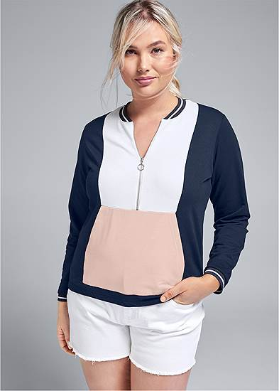 Plus Size Color Block Sweatshirt