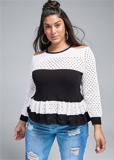 Plus Size Ruffle Hem Sweater