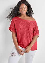 Front View Open Knit Sweater