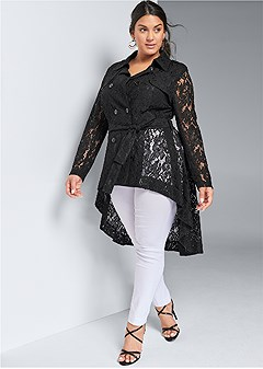 plus size lace high low trench coat