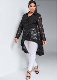 Front View Lace High Low Trench Coat