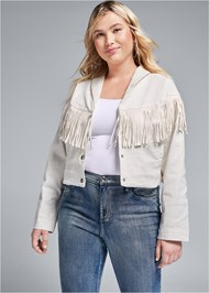 Front View Fringe Detail Denim Jacket