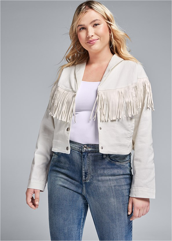 Fringe Detail Denim Jacket,Basic Cami Two Pack,Mid Rise Color Skinny Jeans,Lucite Detail Print Heels,Fringe Crossbody