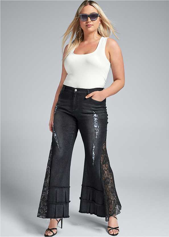 Lace Inset Flare Jeans,Square Neck Tank Top