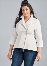 Cropped Front View Ruffle Hem High Low Jacket