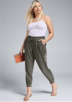 plus size embroidered pants