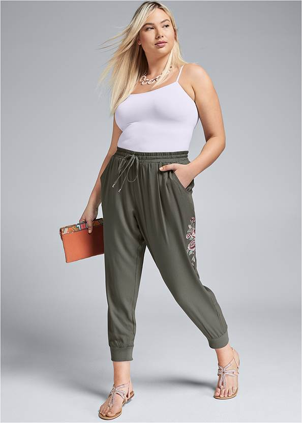 Embroidered Pants,Basic Cami Two Pack