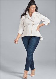 Front View Ruffle Hem High Low Jacket