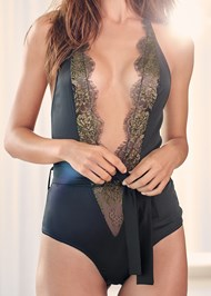 Alternate View Lace And Satin Bodysuit