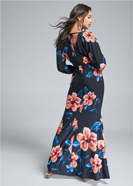 Full back view Printed Balloon Sleeve Maxi