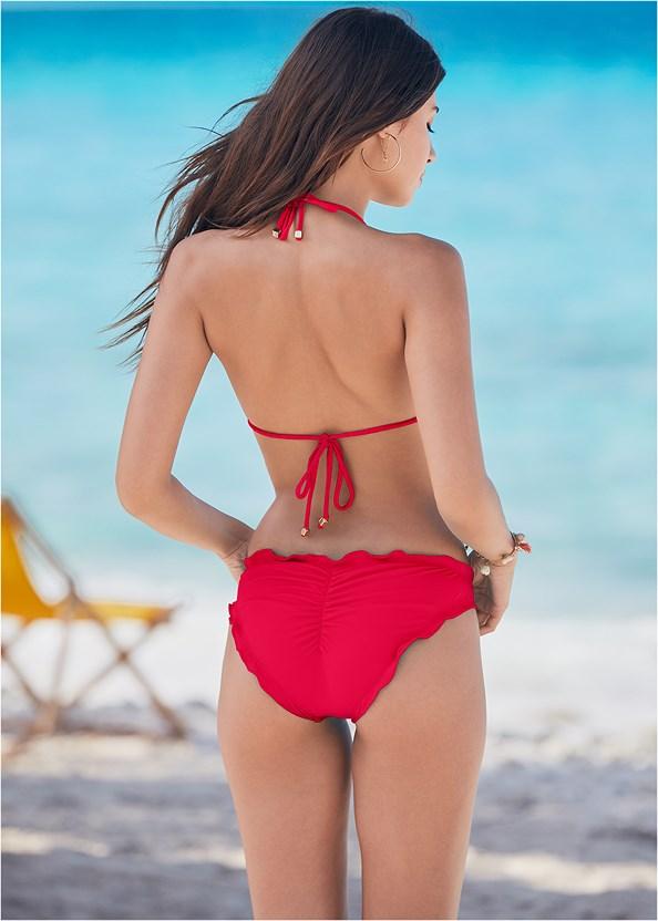 Ruffle Scrunch Back Bottom,Triangle String Bikini Top,Enhancer Push Up Ring Halter Triangle Top ,Jewel Romper Cover-Up