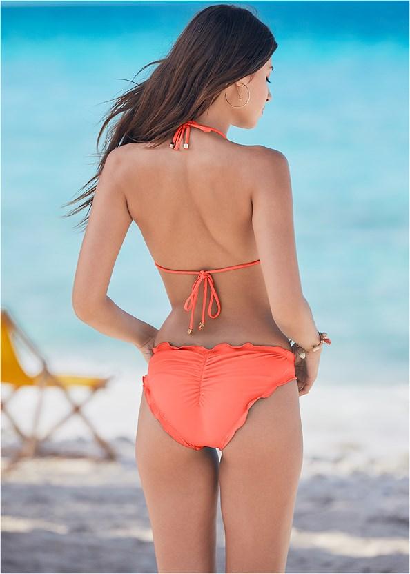 Ruffle Scrunch Back Bottom,Triangle String Bikini Top,Convertible Dress/Skirt