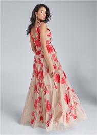 Alternate View Beaded Floral Print Gown