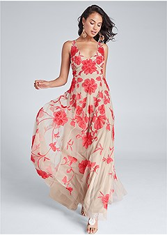 beaded floral print gown