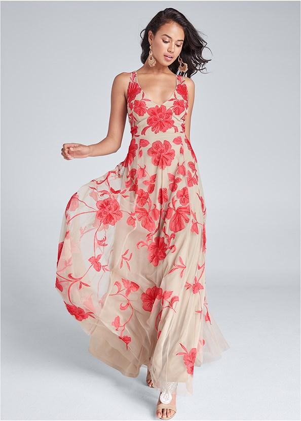 Beaded Floral Print Gown,Beaded Heels,Fringe Drop Earrings