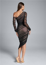 Full back view Mesh Ruched Midi Dress