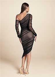 Full back view Mesh Ruched Midi Dress