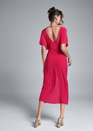 Full back view Knot Front Midi Dress