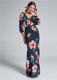 Full front view Printed Balloon Sleeve Maxi