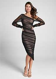 Full front view Mesh Ruched Midi Dress