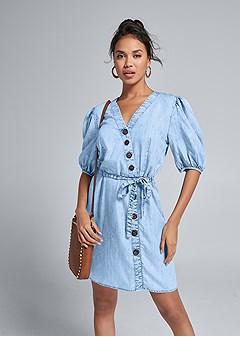 chambray puff sleeve dress