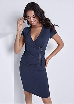 zipper detail casual dress